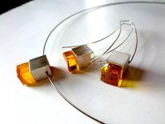 Baltic Amber Earrings , Sterling Silver Earrings , Modern amber Jewelry .
