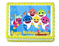 BATMAN BLUE BORDER PRECUT EDIBLE HAPPY BIRTHDAY CAKE TOPPER DECORATION