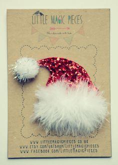 Santa's Hat Hair Clip Headband Hair Band Glitter - Christmas Collection by Little Magic Pieces