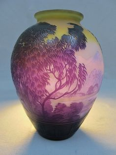 Emile Galle LAKE COMO glass vase, signed.