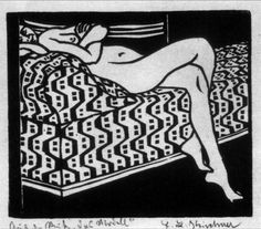 Ernst Ludwig Kirchner, Nude on a Sofa, 1905, Woodcut