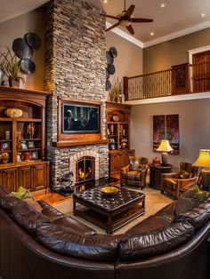 Inspiration for a rustic living room remodel in Charleston with a stone fireplace surround