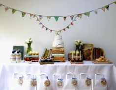 Using books.  This would be good for a baby shower with books as the theme