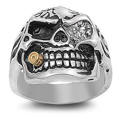 Stainless Steel Casting Ring - Skull with Bullet as Cigar - Clear CZ Product Code: Face Width: Band Width: Finish: High Polish Casting Skull Jewelry, Jewelry Rings, Jewelry Accessories, Skull Rings, Stainless Steel Casting, Stainless Steel Jewelry, Bullet Ring, Biker Rings, Rings For Men