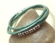 teal leather wrap bracelet