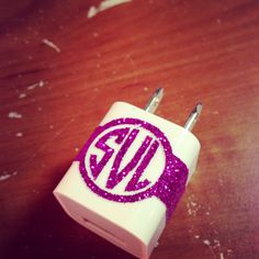 Glitter iPhone Charger Monogram in Circle. $3.50, via Etsy.