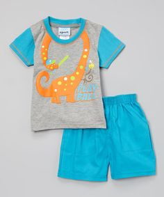 Look what I found on #zulily! Gray & Blue 'Play Ball' Dino Tee & Twill Shorts - Infant #zulilyfinds