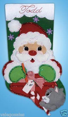 Design Works #Felt #Applique SANTA'S PRESENT #Stocking ♥ #ebay #sale #Christmas #holiday #gift #home #interior #walldecor #DIY #project #handcraft #handmade #needlework #stitching #personalize #create