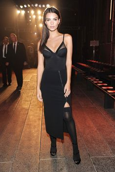 Model and actress, Emily Ratajkowski, sat front row at DKNY to talk about its intimates and hosiery line.