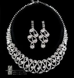Bridal Clear Rhinestone Crystal Necklace Earring Set Choker Collar Style  S154 #ChristinaCollection