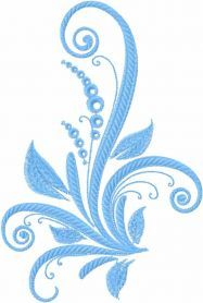 Blue swirl plant free embroidery design. Machine embroidery design. www.embroideres.com