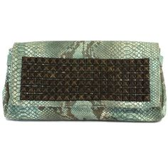 Pre-owned Tylie Malibu Mint Studded Snakeskin Leather Clutch ($99) ❤ liked on Polyvore featuring bags, handbags, clutches, mint, brown leather handbags, snakeskin clutches, brown purse, studded leather handbags and studded purse