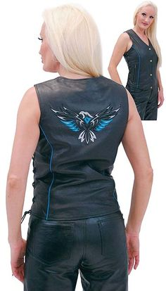 e4b7e3640f8  92.99 Womens turquoise eagle long body leather vest with side lacing and  quality embroidery