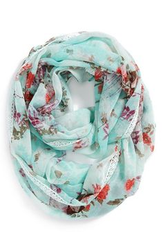 Lulu Lace Trim Floral Infinity Scarf (Juniors) available at #Nordstrom