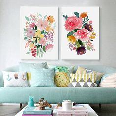 Flower Print Wall Art Decor Watercolor Flowers Nursery Art