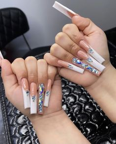 French Manicure Acrylic Nails, French Tip Acrylic Nails, Aycrlic Nails, Best Acrylic Nails, Dope Nails, Bling Nails, Fun Nails, Dope Nail Designs, Color For Nails