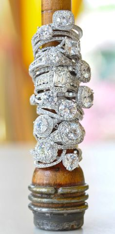 ❥ vintage estate diamond rings.......wow!  Just one or two, please. :)