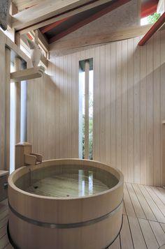Gallery of Bathhouse of Fireflies / TAKASAKI Architects – 3 Image 3 of © Hiroyasu Sakaguchi Japanese Bathroom, Japanese Soaking Tubs, Japanese Sauna, Exterior Design, Interior And Exterior, Bathroom Design Inspiration, Japanese Interior, Bathroom Spa, Japanese House