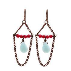 Chain chandelier earrings: Aqua & turquoise. #jewelry #vintage #boho