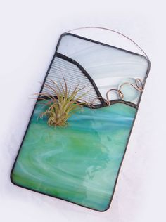 Stained Glass Panel Air Plant Holder - Island Paradise by glassetc $26