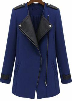 Blue Contrast PU Leather Trims Oblique Zipper Coat pictures