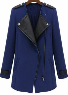 Blue Contrast PU Leather Trims Oblique Zipper Coat pictures