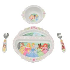 The First Years BPA Free Princess Feeding Set is a bright and sturdy place setting that will make your childs mealtimes just a little bit friendlier. This plate, bowl, fork and spoon set is designed f