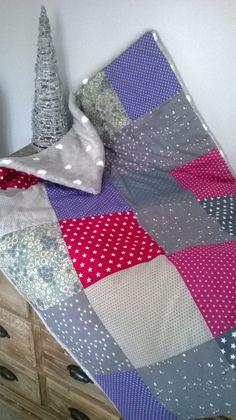 Couverture bébé patchwork et tissu tout doux : Puériculture par eclats-de-rire