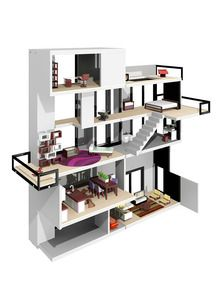 contemporary dollhouse furniture. Modern Dollhouse With Clean Lines A Twostory Living Room Elevator Roof Top Pool And Glass Rail Balconies Designed By Tim Boyle Contemporary Furniture