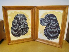 Set of 2 vintage Paint by numbers framed art. Spaniels. Pair
