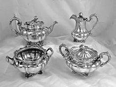 A RARE S.KIRK ENGLISH STYLE MELLON-SHAPED & APPLE FINIAL STERLING SILVER TEA SET #SKirkSon