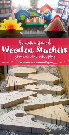 DIY stacker toys are great additions to small world play! Mini Mundo, Small World Play, Stacking Toys, Homemade Toys, Homemade Crafts, Boho Baby Shower, Wood Toys, Wood Kids Toys, Wooden Baby Toys