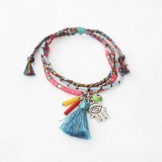 BACK IN STOCK • EBBA layer bracelet • material : hamsa charm, nazar boncu, sequins bead, japanese beads, thread • CS : Line : labdagatic Whatsapp : 088805534481 • SHOP : WWW.LABDAGATIC.COM • #labdagatic #handmade #jewelry #layerbracelet #popethnic #amulet #talisman #bohochic #bohemian #hippies #blue #christmast #gift #indonesia #localbrand #vsco #vscocam #vscogood #bohochic #hamsahand #handoffatimah #nazarboncugu