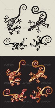 Lizard Ornament Symbols Set #GraphicRiver Smooth and high detail reptile drawing with curl decorative ornament. ZIP file included : EPS8, AI CS3, JPEG high res, and PNG transparent Easy to change color. Use Adobe Illustrator 8 or higher to edit EPS or AI, and Adobe Photoshop to edit JPEG or PNG files. No layers. Alternative keywords : gecko, sticker, design, logo, reptile logo, animal logo, wallpaper, background, curl, curly, tribal, tattoo, elegant, elegance, cool, beauty, beautiful, black…