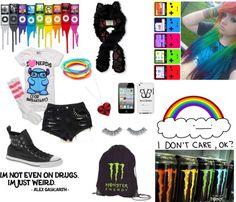 """Rainbows. Just rainbows."" by arsenic-catnip ❤ liked on Polyvore"