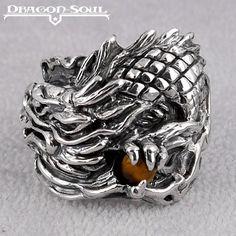 HEAVY DRAGON FIREBALL RING STERLING SILVER & TIGER EYE DRAGON-SOUL SIZE-11-3/4 #DragonSoul #Dragon