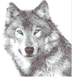 WOLF drawingstich design - Animals free machine embroidery design - Machine…