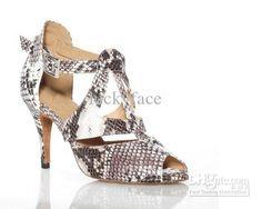 Wholesale Grey Snakeskin Print Ladies Ballroom Salsa Dance Shoe, Free shipping, $41.42-44.84/Piece | DHgate