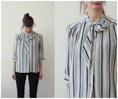 1980s SILK Blouse Tie Neck Ascot Blouse Pussy Bow Tie Blouse Striped Top Button Down Shirt Vintage Silk Top