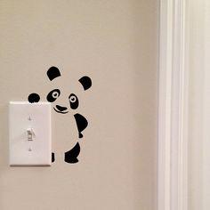 Panda Light Switch Cute Vinyl Wall Decal Sticker Art