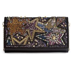 Boudoir Beaded Black Leather Chain Wallet (314.785 HUF) ❤ liked on Polyvore featuring bags, wallets, black, print wallets, beaded wallet, snap wallet, star wallet and glitter wallet