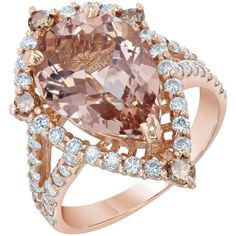 4.63 Carat Pear Cut Morganite Diamond Rose Gold Ring 1