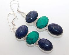 AMAZING LAPIS LAZULI-TURQUOISE FOR GIFT IDEAS 925 STERLING SILVER EARRINGS T235 #925silverpalace #DropDangle