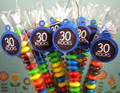 30th Birthday Candy Treat Bags - 30 Rocks Set of 12 via Etsy