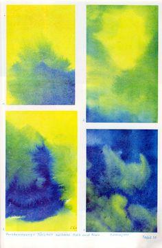 Tafel 10: Farbbewegung in Gelb und Blau (2. Schuljahr) alle vier Bilder: 1. bis 4. Farbbewegung: Tätigkeit zwischen Gelb und Blau