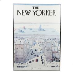 """A framed advertising poster depicting the 1976 cover of The New Yorker by Saul Steinberg. It features the famous """"A View of the World From 9th Avenue"""" design and is signed in plate by Steinberg to the lower right corner. It also features a printed mark that reads """"1976 The New Yorker Magazine, Inc"""". Presents in a metal frame with a wire on the verso for mounting."""