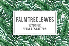 Palm tree leaves seamless pattern by Karina Cornelius on Creative Market