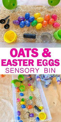 Oats & Easter Eggs Sensory Bin – HAPPY TODDLER PLAYTIME Easy and fun is the best way to describe this Easter sensory bin! Oh and did I mention EASY! This sensory bin is so engaging and perfect for babies, toddlers and preschoolers! Toddler Sensory Bins, Baby Sensory Play, Toddler Learning Activities, Toddler Play, Spring Activities, Infant Activities, Toddler Preschool, Preschool Activities, Sensory Tubs