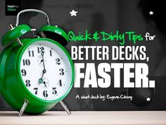 Quick & Dirty Tips for : Better PowerPoint Presentations Faster by Eugene Cheng via slideshare.  On page 10 click the video play button, it goes to another webpage with an incredible fast forward look at making the Power Point.  Amazing!