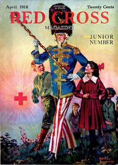 Uncle Sam Marching with Children by Norman Rockwell featured on the cover of Red Cross for April 1918 Oncle Sam, Norman Rockwell Prints, American Red Cross, God Bless America, Vintage Comics, Vintage Magazines, Album Covers, Novels, 1
